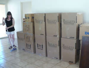 Lisa with moving boxes