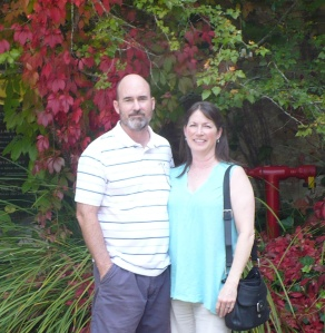 Steve and Lisa in front of Nepenthe Winery