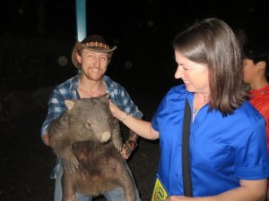 Lisa with wombat