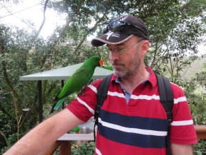 Steve with parrot